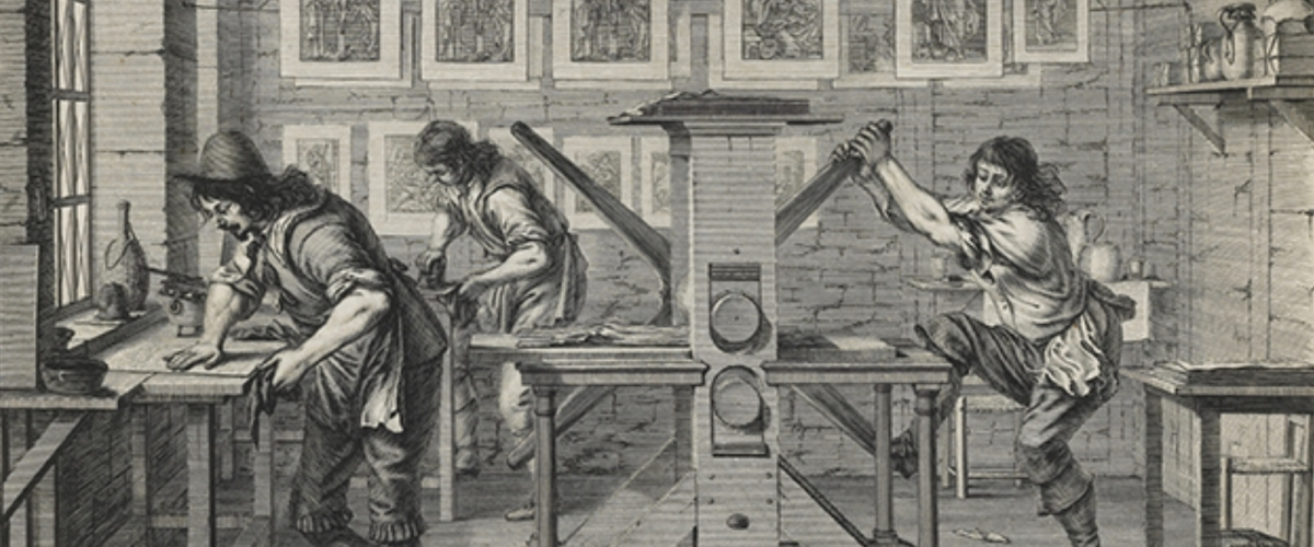 Abraham Bosse 'The Workshop of a Printer' (detail) (1642)