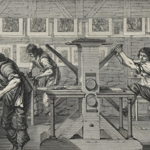 Abraham Bosse 'The Workshop of a Printer' (detail) (1642)