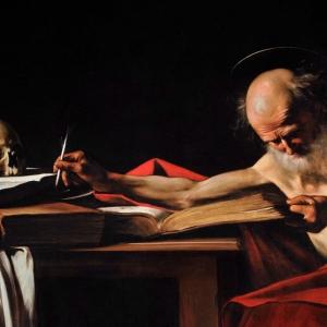 Saint Jerome Writing - Caravaggio c.1605 - Borghese Gallery, Rome, Italy   WikiArt