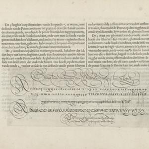Instructie bij het schrijven van de Nederlandse letteren (vijfde vervolg) en een schrijfvoorbeeld, Simon Frisius, naar Jan van de Velde (I), 1608. © Rijksmuseum Amsterdam