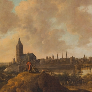 Anthonie van Croos, View of the town of Wesel on the Rhine river, with a draughtsman in the foreground, between 1621-1662, private collection